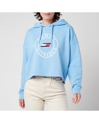 Tommy Sport Relaxed Round Graphic Hoodie - Blue