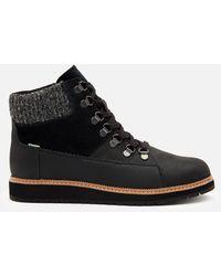 TOMS Mesa Waterproof Nubuck Leather Hiking Style Boots - Black
