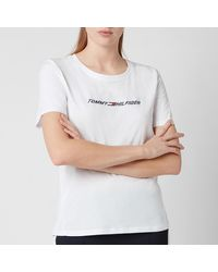 Tommy Sport Regular Crew Neck Graphic T-shirt - White