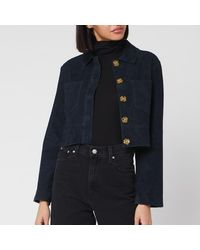Whistles Selena Cropped Suede Jacket - Blue
