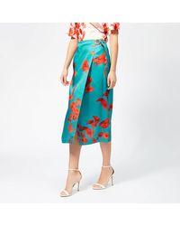 Ted Baker Lilyyy Fantasia Split Hem Midi Skirt - Blue