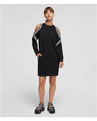 Karl Lagerfeld Cold Shoulder Sweat Dress - Black