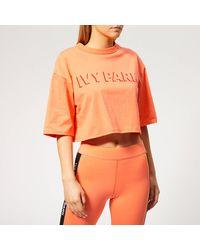 Ivy Park Logo Crop Shorts Sleeve T-shirt - Orange
