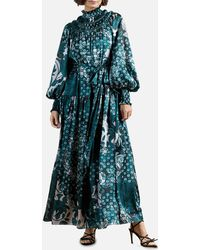 Ted Baker Anafia Trapeze Maxi Dress With Smocked Neck Detail - Blue