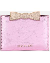 Ted Baker Mellan Slotted Bow Pull Out Mirror Card Holder - Pink