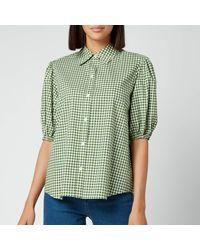 Kate Spade Mini Gingham Button Up Shirt - Green