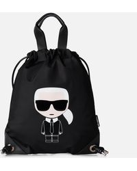 Karl Lagerfeld K/ikonik Nylon Flat Backpack - Black