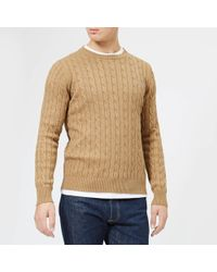 GANT - Cotton Cable Crew Knitted Jumper - Lyst