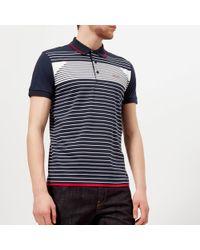 BOSS Green Paddy 5 Striped Polo Shirt - Blue
