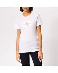 Calvin Klein Flock Monogram Slim T-shirt - White