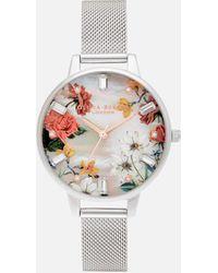 Olivia Burton Sparkle Florals Demi Mop Dial Watch - Metallic