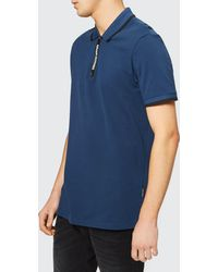 Armani Exchange - Tape Zip Polo Shirt - Lyst