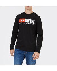 DIESEL Longsleeved Logo T-shirt - Black