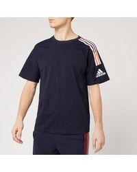 adidas Z.n.e. 3 Stripe Short Sleeve T-shirt - Blue