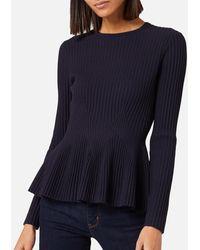 Ted Baker Jariala Stitch Detail Peplum Sweater - Blue