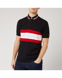 Tommy Hilfiger Iconis Chest Stripe Polo Shirt - Black