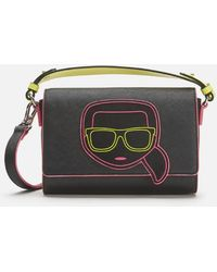 Karl Lagerfeld K/ikonik Neon Cross Body Bag - Black