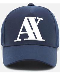 Armani Exchange Rubber Ax Logo Cap - Blue