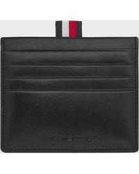 Tommy Hilfiger Polished Leather Slide Card Holder - Black