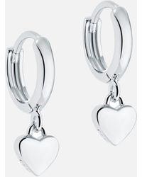 Ted Baker Harrie: Tiny Heart Huggie Earrings - Metallic
