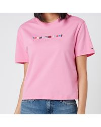 Tommy Hilfiger Coloured Linear Logo T-shirt - Pink