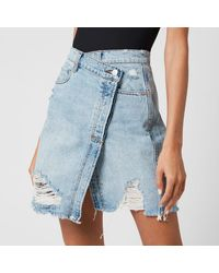 Free People Parker Wrap Skirt - Blue