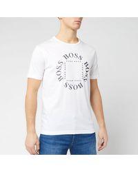BOSS by Hugo Boss Tee 1 Circular Logos T-shirt, White Tee