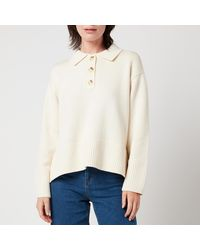 Whistles Button Front Polo Knit - Natural