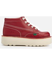 Hi Stack Red Leather Boots