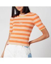 Tommy Hilfiger Stripe 3/4 Sleeve Jumper - Orange