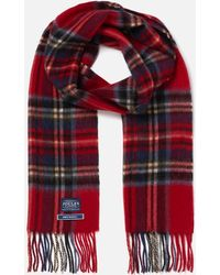 Joules Tytherton Wool Checked Scarf - Red
