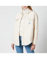Calvin Klein Padded Shirt Jacket - Natural