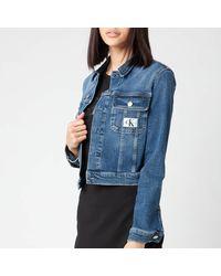 Calvin Klein Cropped 90's Denim Jacket - Blue