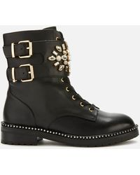 Kurt Geiger Stoop Leather Lace Up Boots - Black