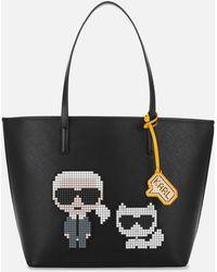 Karl Lagerfeld K/pixel Karl & Choupette Tote Bag - Black