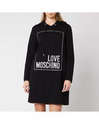 Love Moschino Logo Box Hoody Dress - Black