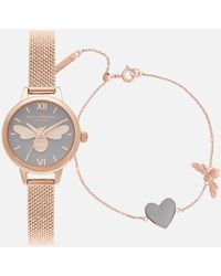 Olivia Burton Lucky Bee Mini You Have My Heart Watch/bracelet Giftset - Metallic