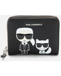 Karl Lagerfeld K/ikonik Small Folded Zip Wallet - Black