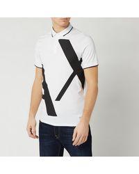 Armani Exchange Large Logo Polo Shirt - White
