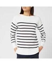 Barbour Stripe Guernsey Knitted Jumper - White