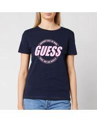 Guess Short Sleeve Crew Neck Roxy T-shirt - Blue