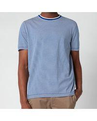 Ted Baker Raki Fine Stripe Ribstart Crewneck T-shirt - Blue