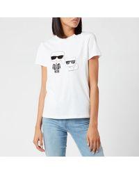 Karl Lagerfeld Ikonic Karl & Choupette T-shirt - White