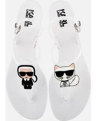 Karl Lagerfeld Jelly Karl Ikonic Sling Sandals - White