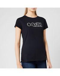 HUGO Slim-fit T-shirt With Glitter-print Reversed Logo - Black