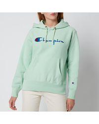 Champion Large Script Hooded Sweatshirt - Green