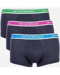 Emporio Armani Core Logoband 3-pack Trunks - Blue