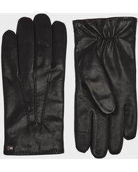 Tommy Hilfiger Flag Leather Gloves - Black