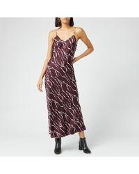 Whistles Dagma Twig Print Slip Dress - Red