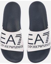 EA7 Logo Slide Sandals - Blue